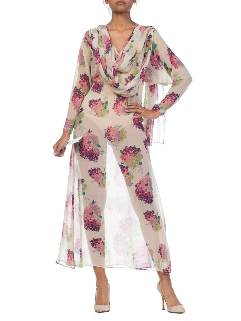 Sheer Silk 1920s Floral Chiffon Dress For Sale 11
