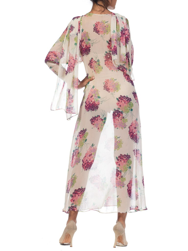 Sheer Silk 1920s Floral Chiffon Dress For Sale 12