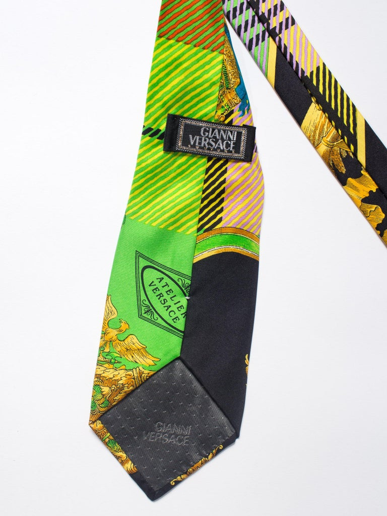Early 1990s Gianni Versace Gold Baroque Plaid Printed Silk Tie In Excellent Condition For Sale In New York, NY