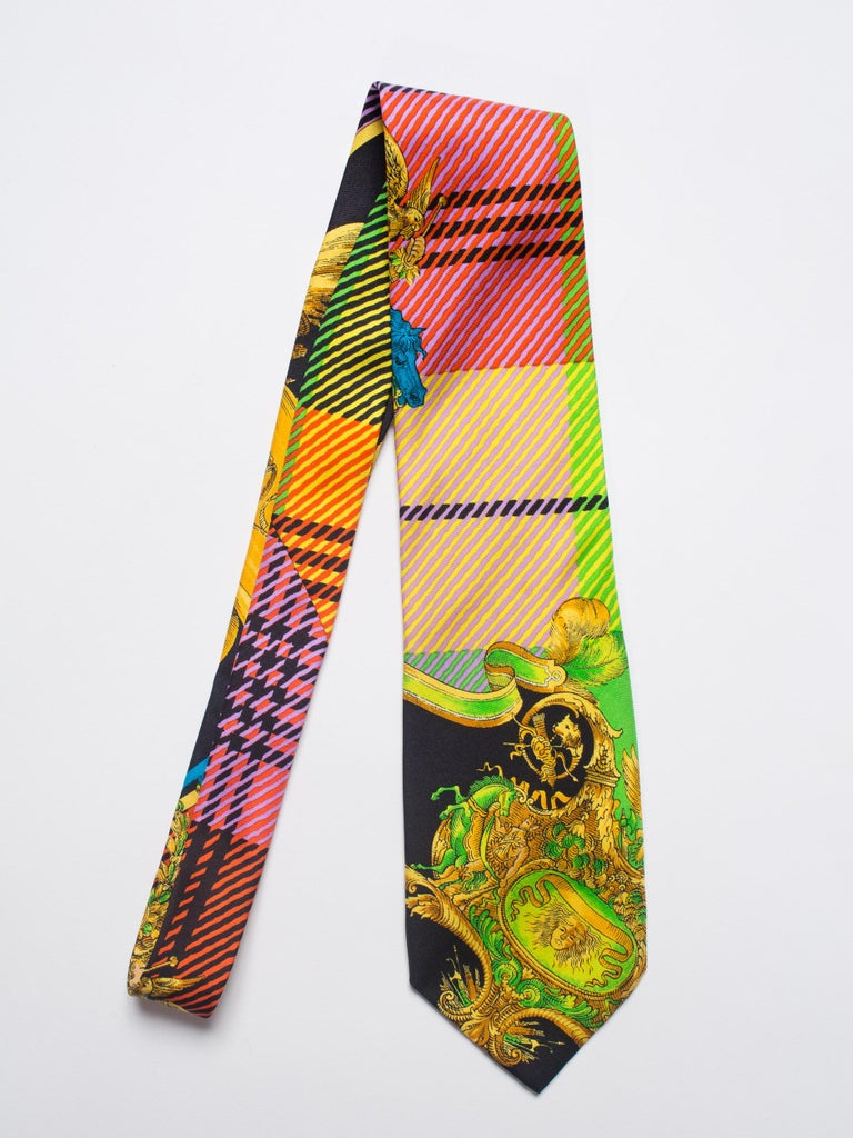 Men's Early 1990s Gianni Versace Gold Baroque Plaid Printed Silk Tie For Sale