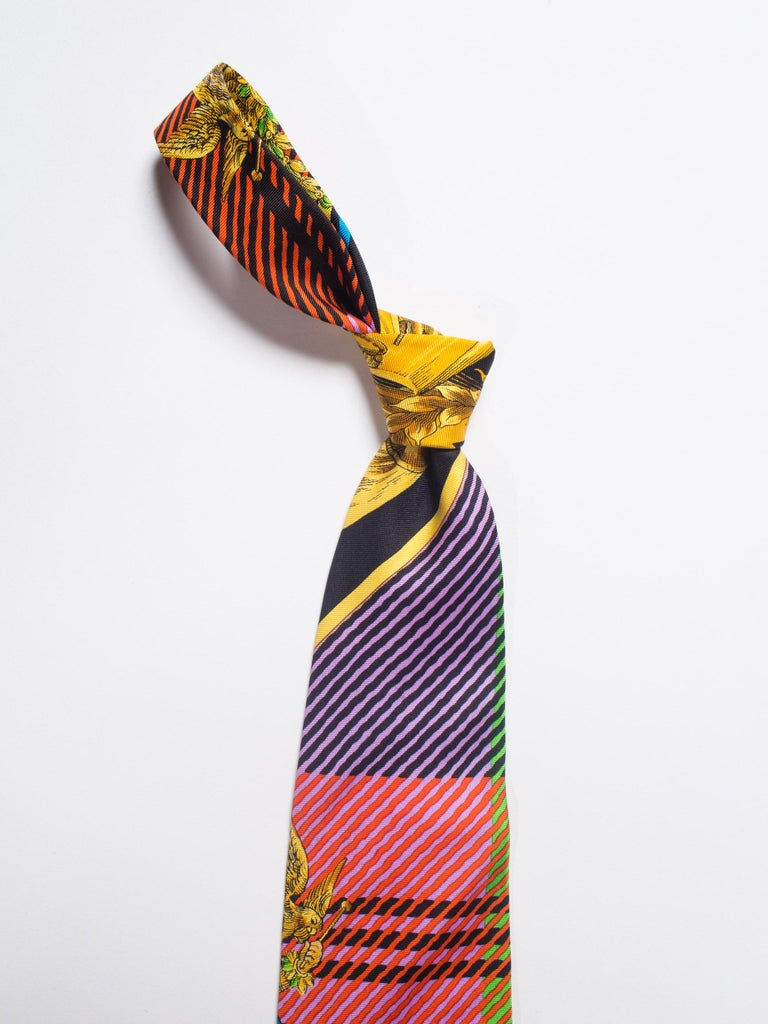 Early 1990s Gianni Versace Gold Baroque Plaid Printed Silk Tie For Sale 4