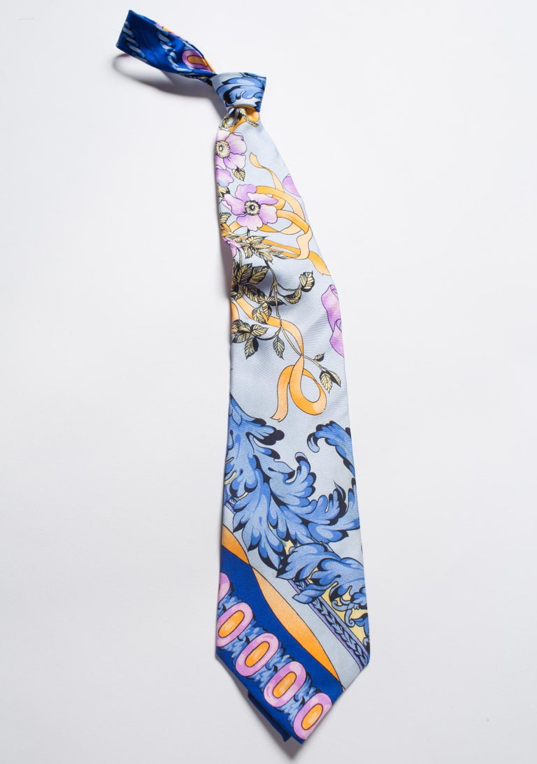 Gray 1990s Gianni Versace Pastel Baroque Gold, Blue & Purple Men's Silk Tie For Sale