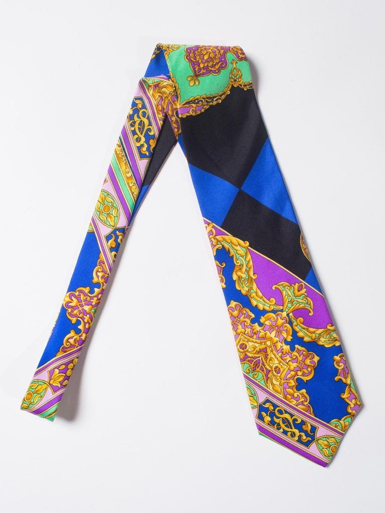 Men's Early 1990s Gianni Versace Hand-Printed Gold Baroque Mens Tie For Sale