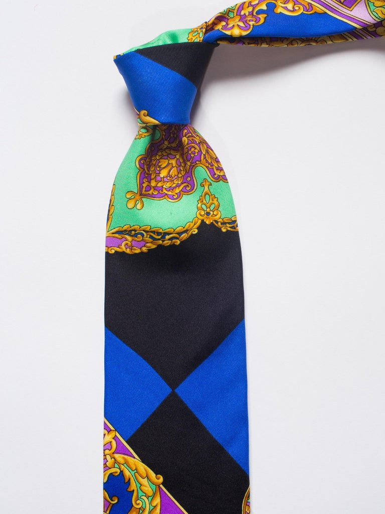Early 1990s Gianni Versace Hand-Printed Gold Baroque Mens Tie For Sale 3