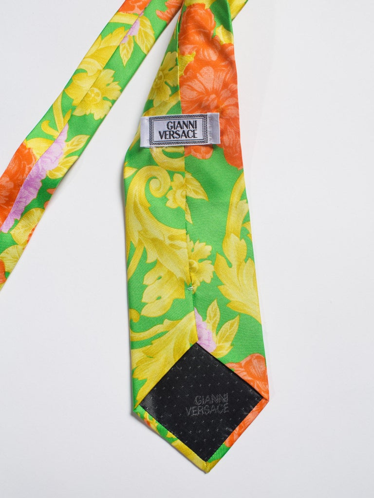 1990s Gianni Versace Orange, Gold & Lime Baroque Silk Tie For Sale 1