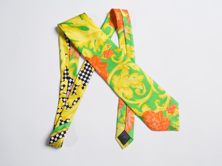 1990s Gianni Versace Orange, Gold & Lime Baroque Silk Tie In Excellent Condition For Sale In New York, NY