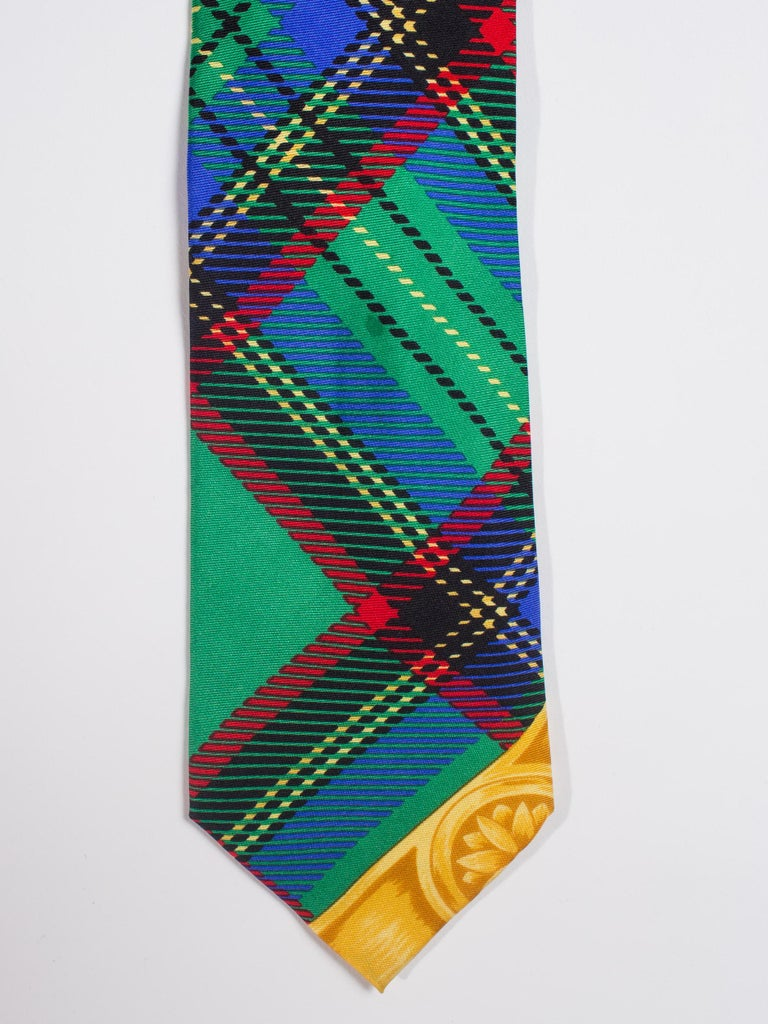 Blue Early 1990s Gianni Versace Silk Plaid Tie For Sale