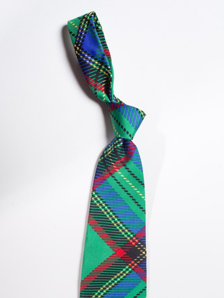 Early 1990s Gianni Versace Silk Plaid Tie In Excellent Condition For Sale In New York, NY