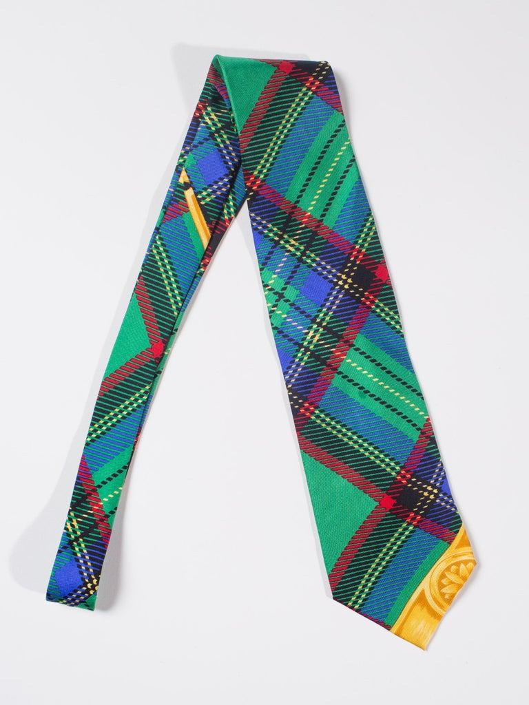 Men's Early 1990s Gianni Versace Silk Plaid Tie For Sale