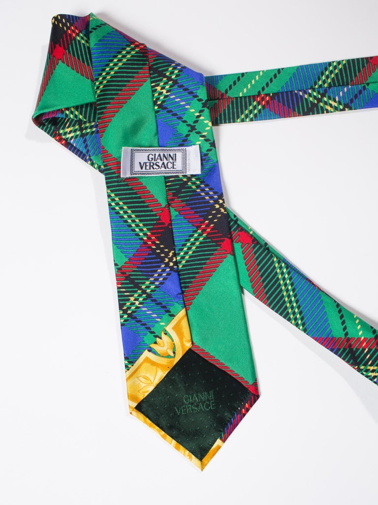 Early 1990s Gianni Versace Silk Plaid Tie For Sale 1
