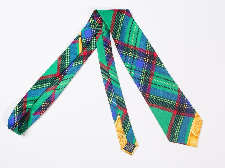 Early 1990s Gianni Versace Silk Plaid Tie For Sale 2