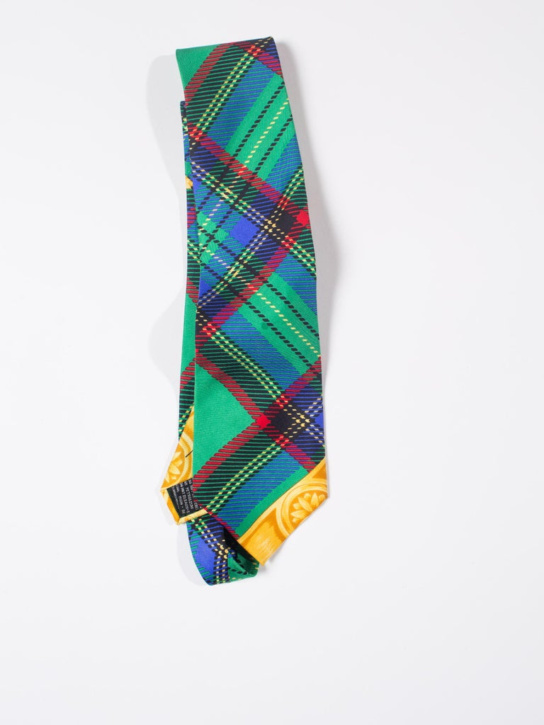 Early 1990s Gianni Versace Silk Plaid Tie For Sale 3