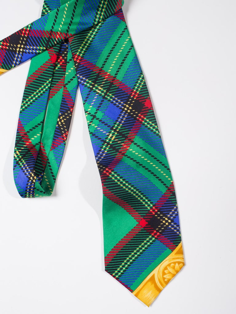 Early 1990s Gianni Versace Silk Plaid Tie For Sale 4
