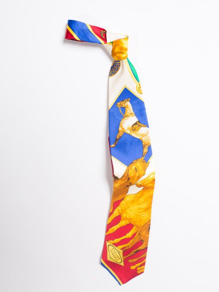 Orange 1990s Gianni Versace Atelier Equestrian Horse Print Mens Silk Tie For Sale