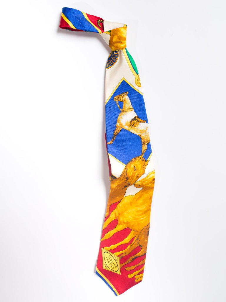 1990s Gianni Versace Atelier Equestrian Horse Print Mens Silk Tie In Excellent Condition For Sale In New York, NY