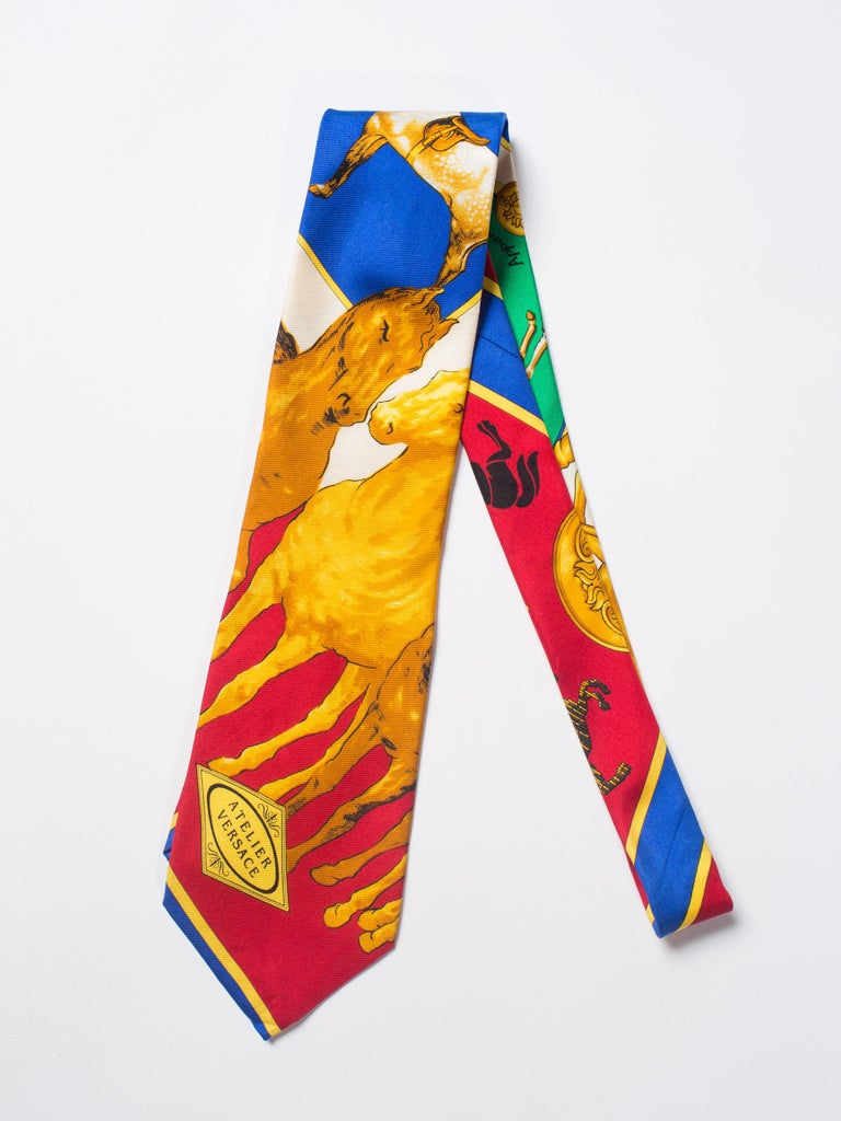 Men's 1990s Gianni Versace Atelier Equestrian Horse Print Mens Silk Tie For Sale