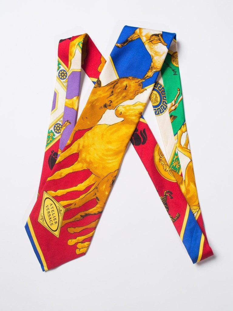 1990s Gianni Versace Atelier Equestrian Horse Print Mens Silk Tie For Sale 1