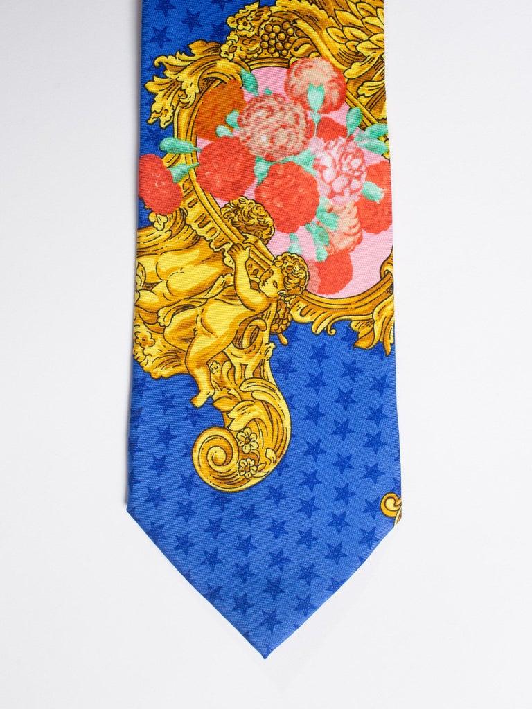 Men's 1990s Gianni Versace Baroque Floral & Blue Dot Mens Silk Tie For Sale