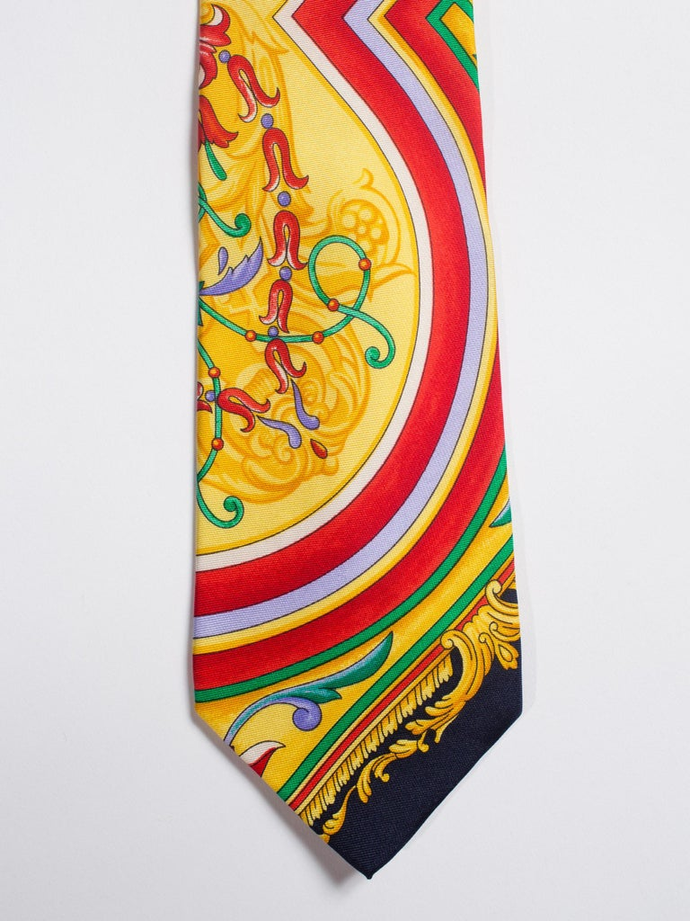 Beige Early 1990s Gianni Versace Baroque Striped Silk Tie For Sale