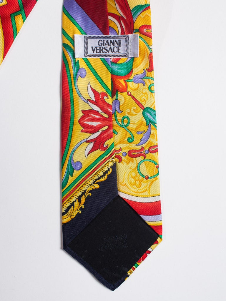 Men's Early 1990s Gianni Versace Baroque Striped Silk Tie For Sale