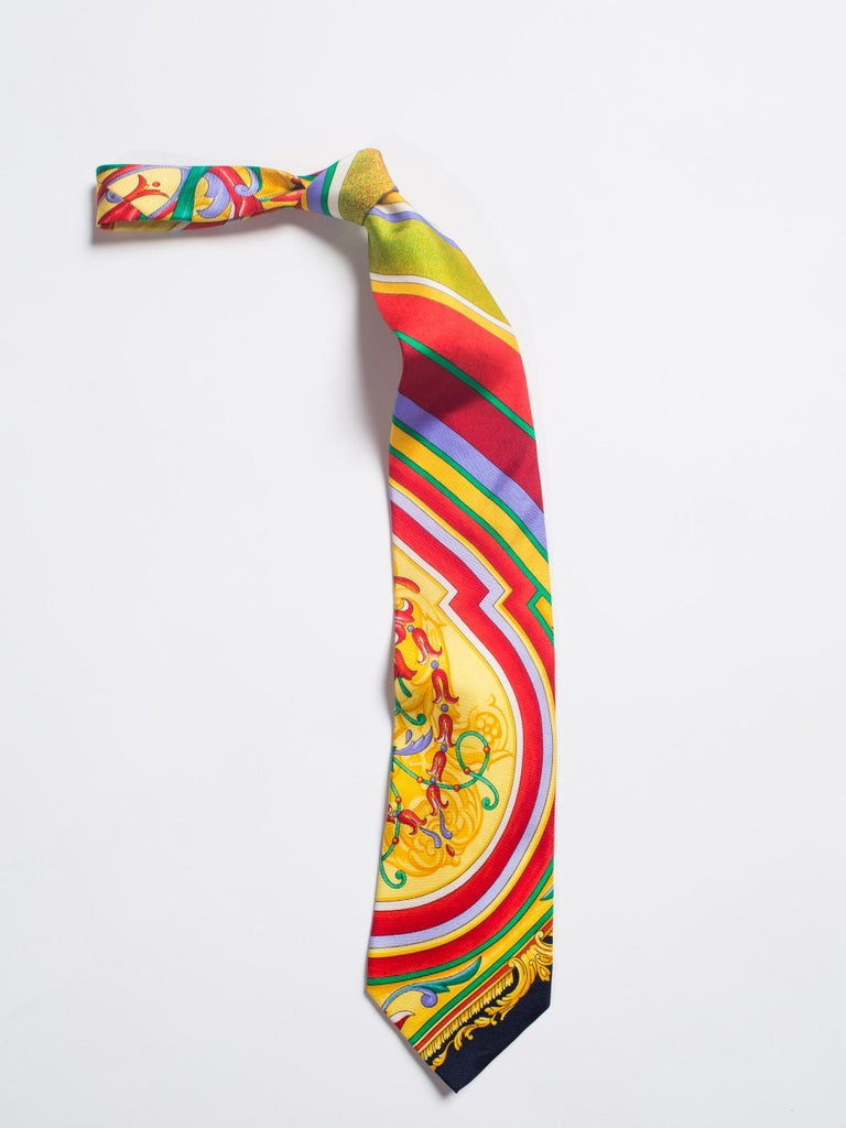 Early 1990s Gianni Versace Baroque Striped Silk Tie For Sale 1