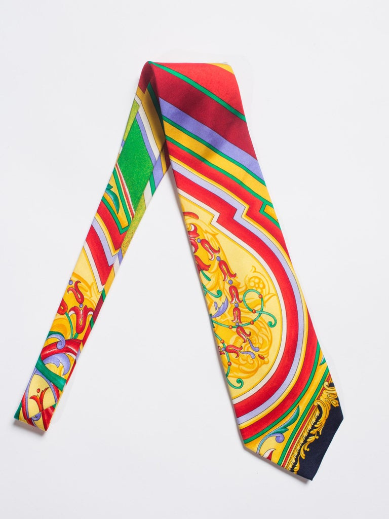 Early 1990s Gianni Versace Baroque Striped Silk Tie For Sale 2