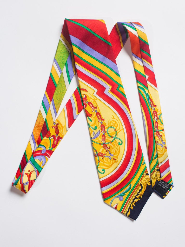 Early 1990s Gianni Versace Baroque Striped Silk Tie For Sale 3