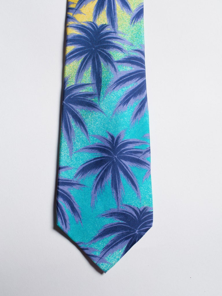 Men's 1990s Gianni Versace Miami South Beach Collection Palm Sunset Mens Silk Tie For Sale