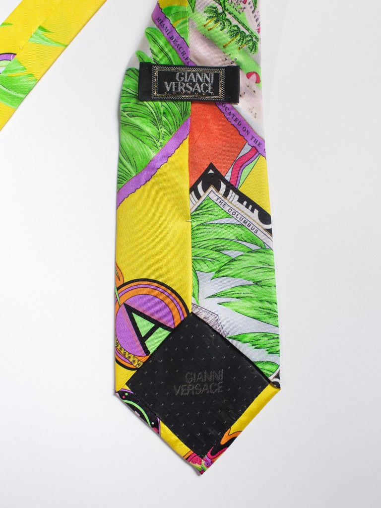 1990s Gianni Versace Miami South Beach Collection Postcard Mens Silk Tie In Excellent Condition For Sale In New York, NY