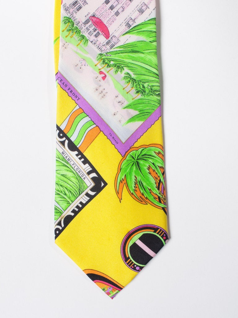 1990s Gianni Versace Miami South Beach Collection Postcard Mens Silk Tie For Sale 2
