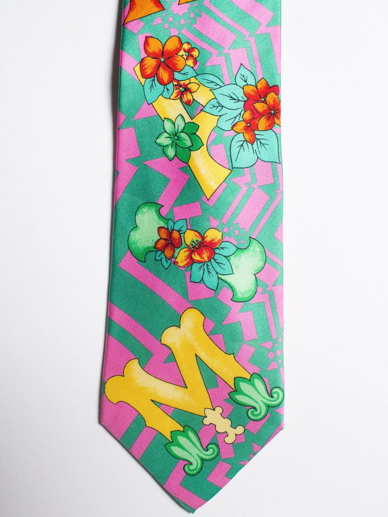 1990s Gianni Versace Floral Miami South Beach Collection Mens Silk Tie For Sale 2