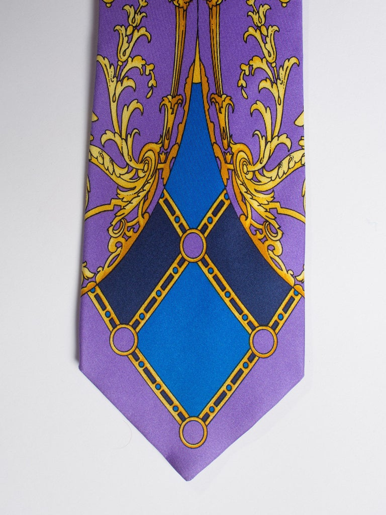 Early 1990s Gianni Versace Baroque Gold Medusa Silk Tie In Excellent Condition For Sale In New York, NY