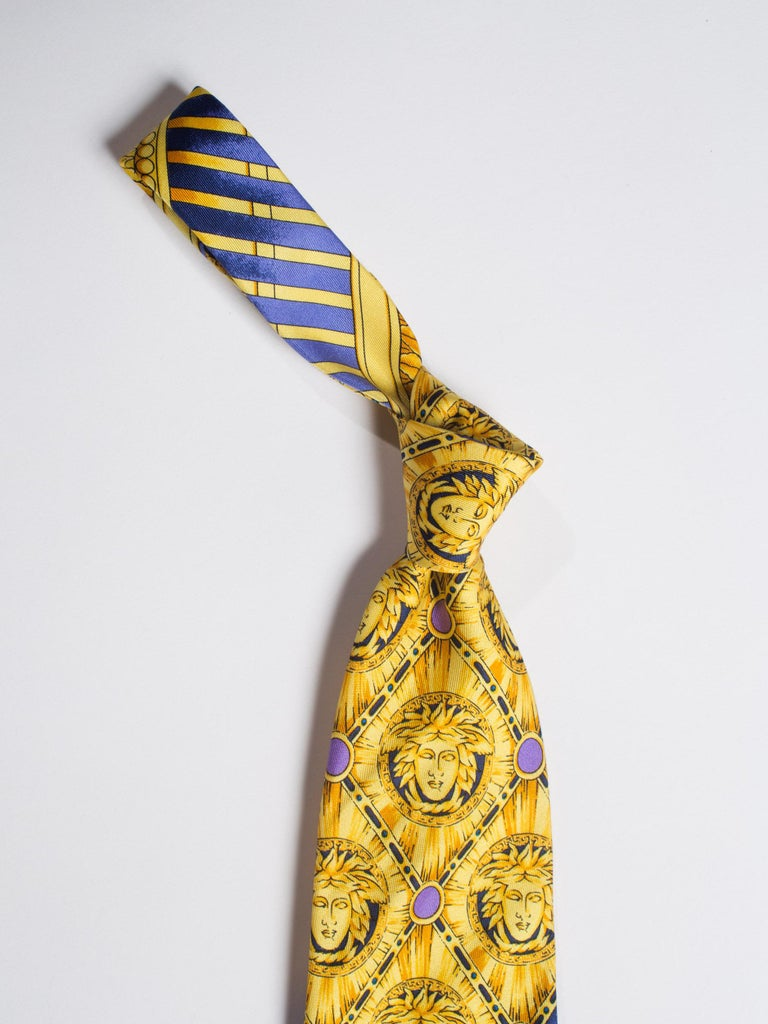 Men's Early 1990s Gianni Versace Baroque Gold Medusa Silk Tie For Sale