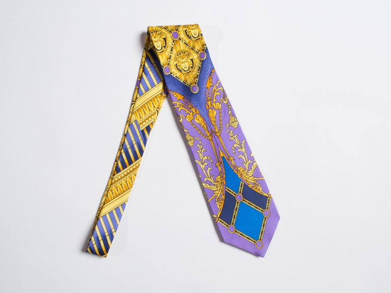 Early 1990s Gianni Versace Baroque Gold Medusa Silk Tie For Sale 3