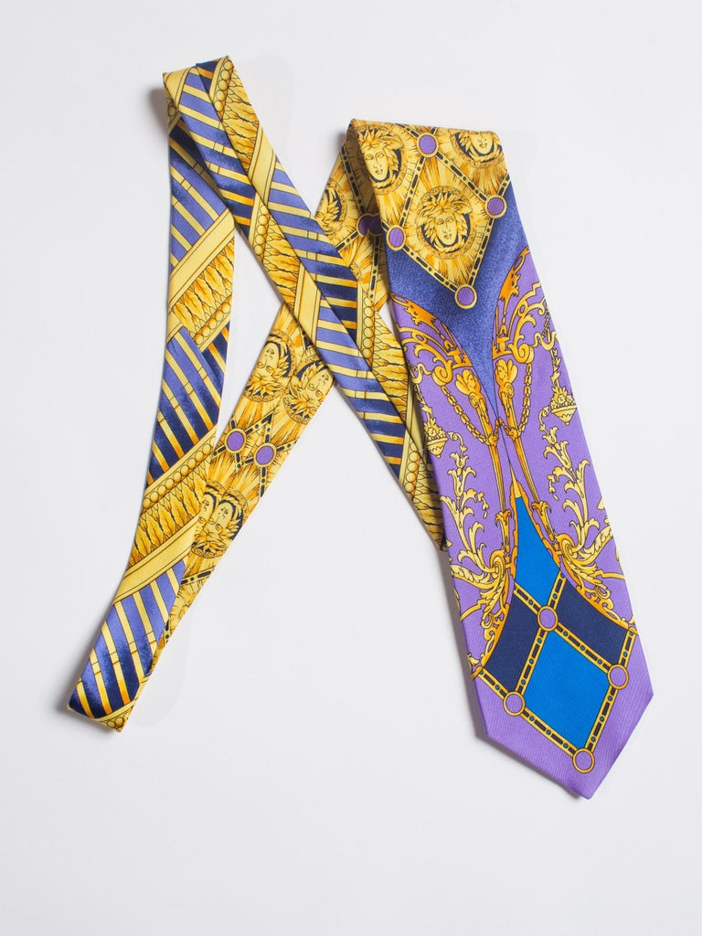 Brown Early 1990s Gianni Versace Baroque Gold Medusa Silk Tie For Sale