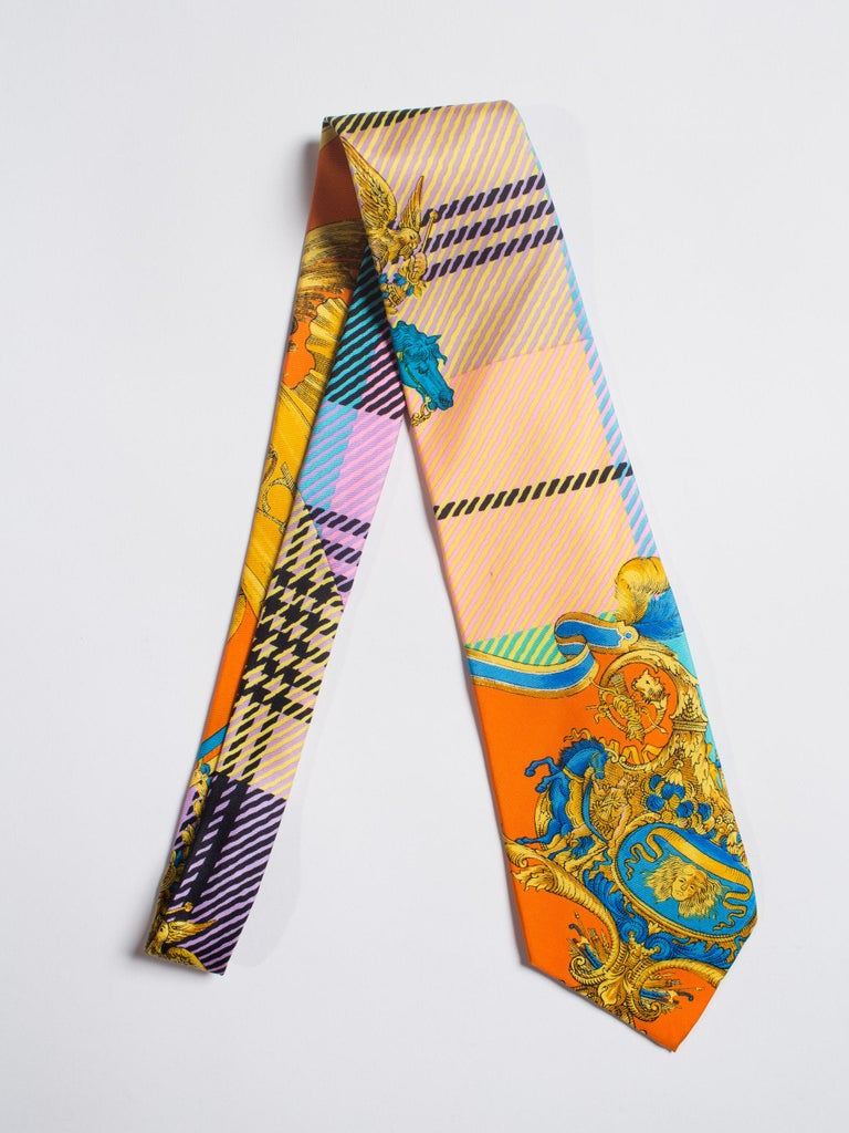 1990s Gianni Versace Atelier Mens Silk Tie For Sale 1