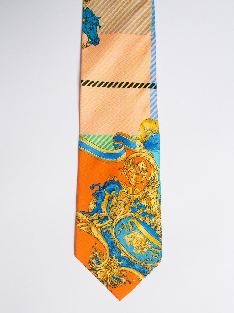 1990s Gianni Versace Atelier Mens Silk Tie For Sale 3