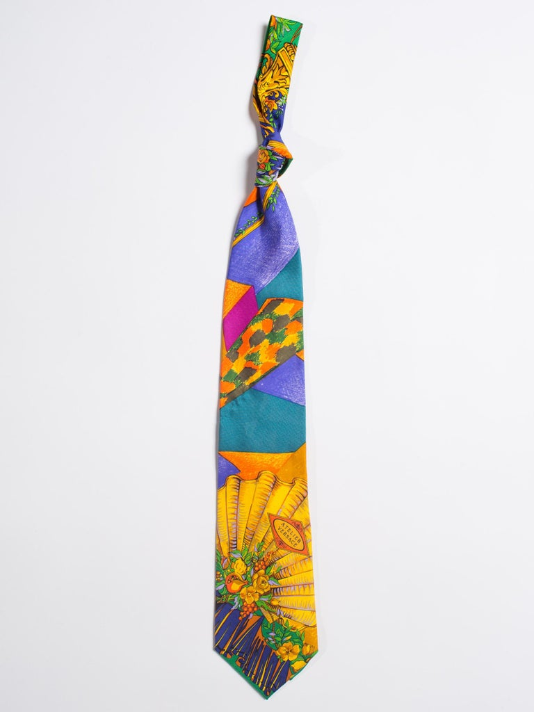 Early 1990s Atelier Versace Hand-Printed Baroque Deco Mens Tie In Excellent Condition For Sale In New York, NY