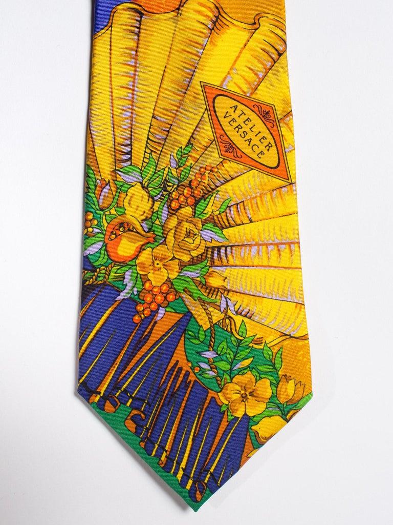 Men's Early 1990s Atelier Versace Hand-Printed Baroque Deco Mens Tie For Sale