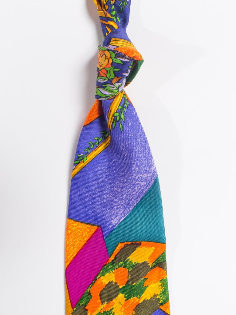 Early 1990s Atelier Versace Hand-Printed Baroque Deco Mens Tie For Sale 1