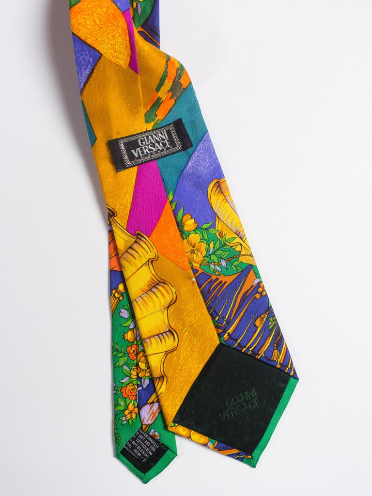 Early 1990s Atelier Versace Hand-Printed Baroque Deco Mens Tie For Sale 2