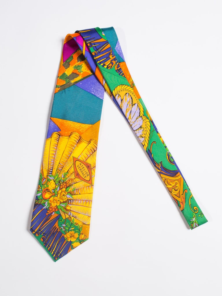 Early 1990s Atelier Versace Hand-Printed Baroque Deco Mens Tie For Sale 3