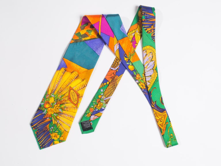 Early 1990s Atelier Versace Hand-Printed Baroque Deco Mens Tie For Sale 4