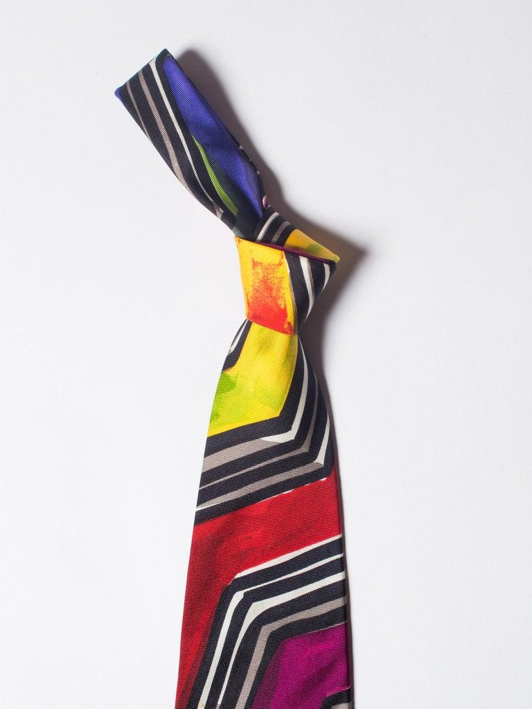Early 1990s Gianni Versace Purple Medusa Men's Silk Tie For Sale 2
