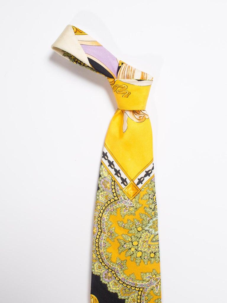 1990s Gianni Versace Gold, Yellow & Purple Baroque Men's Silk Tie For Sale 1