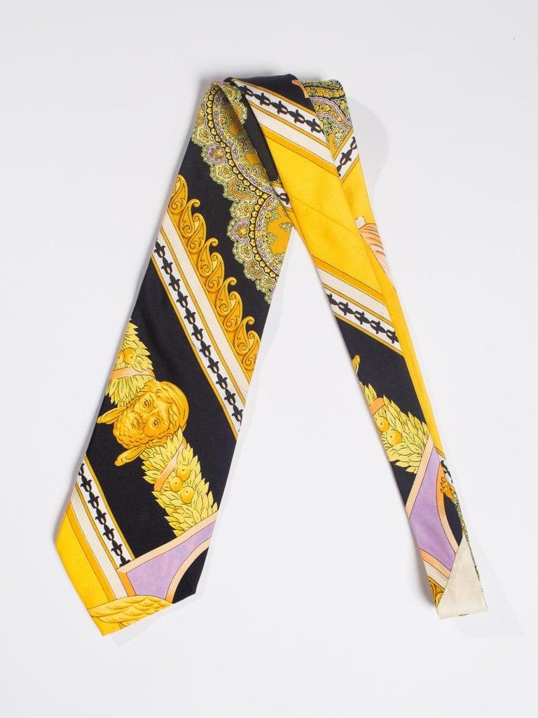 1990s Gianni Versace Gold, Yellow & Purple Baroque Men's Silk Tie For Sale 3