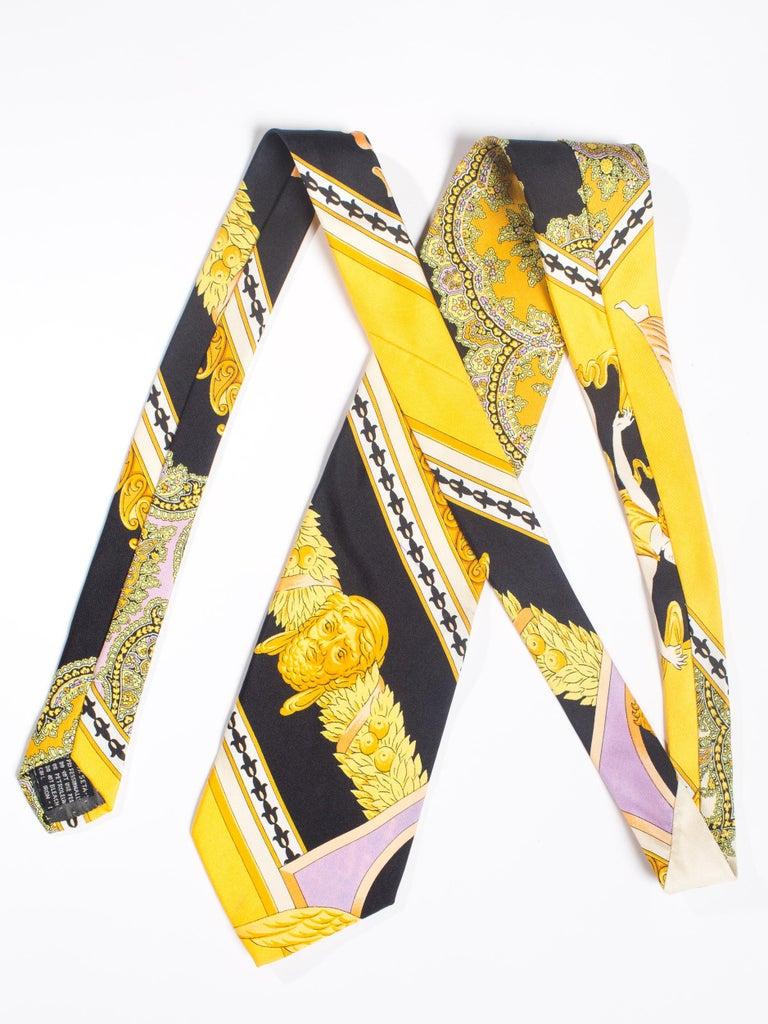 1990s Gianni Versace Gold, Yellow & Purple Baroque Men's Silk Tie For Sale 4