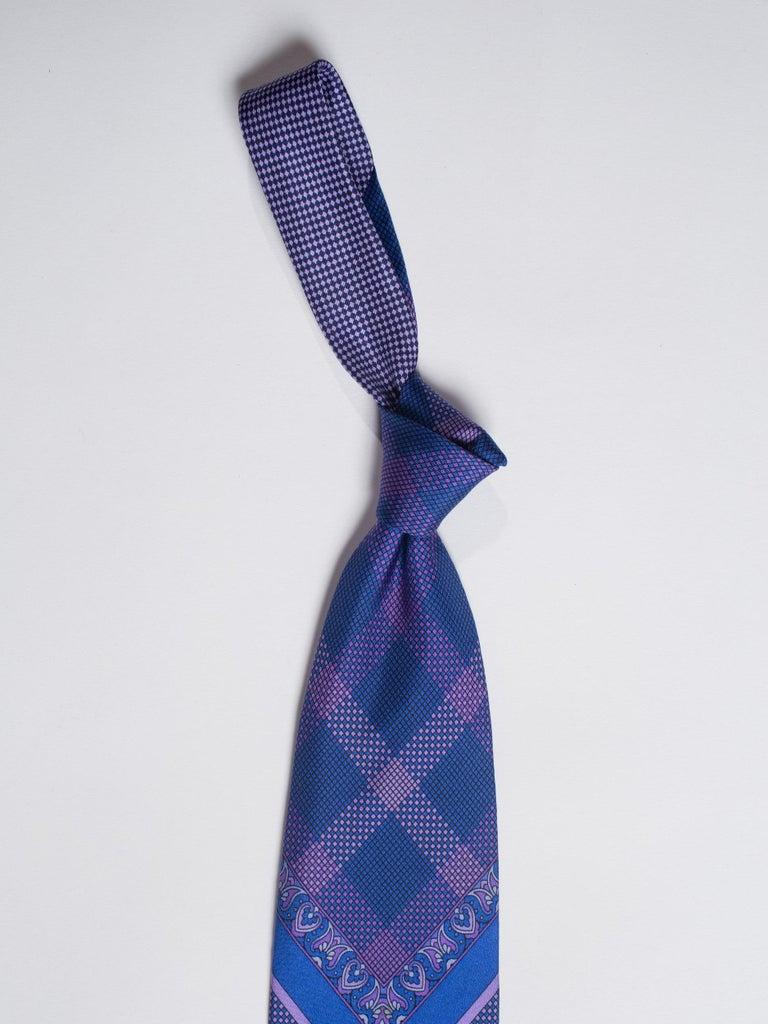 1990s Gianni Versace Blue & Purple Medusa Logo Men's Silk Tie For Sale 4