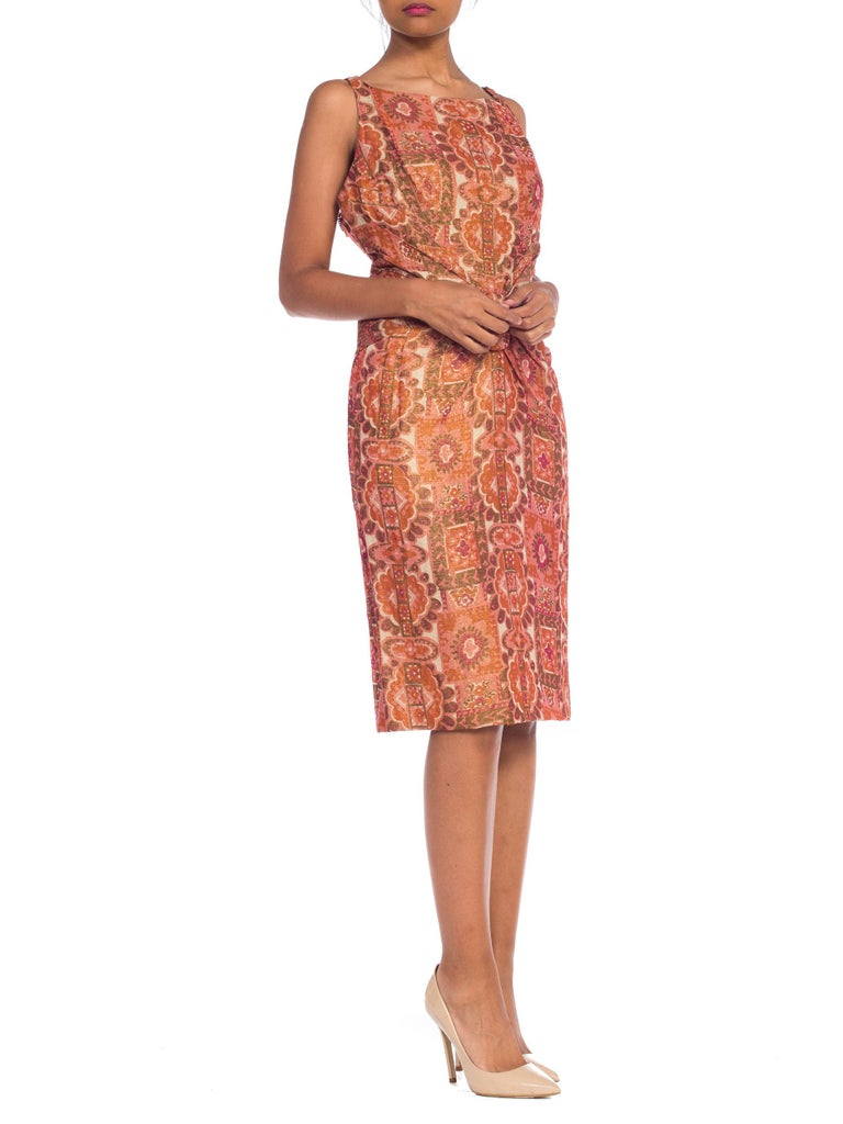 Women's Late 1950s Fitted Metallic & Silk Low Back Dress For Sale