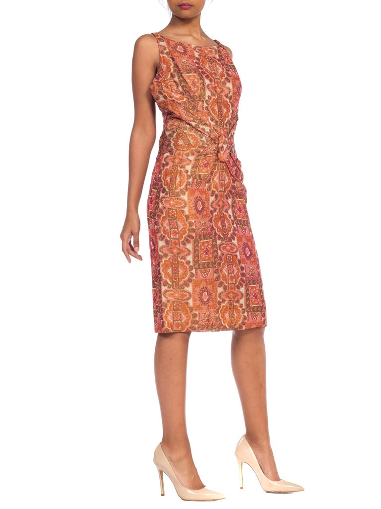 Late 1950s Fitted Metallic & Silk Low Back Dress For Sale 2